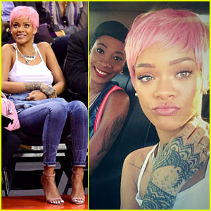 Rihanna Rocks Short Pink Wig She Took from Nicki Minaj!