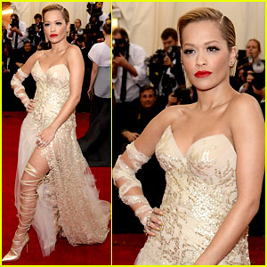 Rita Ora's Bare Leg is All Wrapped Up at Met Ball 2014