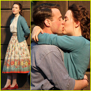 Saoirse Ronan & Emory Cohen Share a Kiss on the 'Brooklyn' Set!