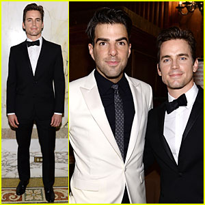 Matt Bomer & Zachary Quinto Meet Up at amfAR Inspiration Gala 2014