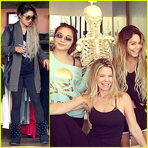 Vanessa Hudgens & Sis Stella Get Extra Fit With Mr. Skellington!