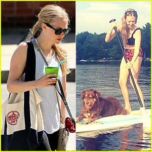 Amanda Seyfried Bares Midriff While Paddling With Finn!