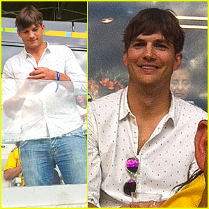 Ashton Kutcher Looks So Happy To Be at FIFA World Cup Semifinals!