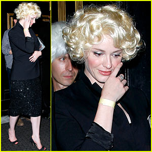 Christina Hendricks Goes Blonde For the Evening in a Short Bleached Wig!