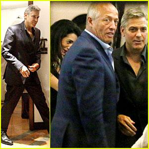 George Clooney & Fiancee Amal Alamuddin Make It a Family Night in Italy! George-clooney-fiancee-amal-alamuddin-make-it-family-night