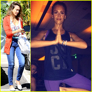 Jessica Alba Hates Working Out, But Still Has Fun at Yoga Party!