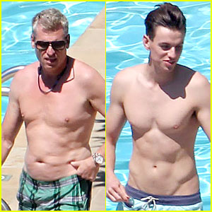 Joe Simpson Hits the Pool with Model Jonathan Keith During Jessica's Wedding Weekend