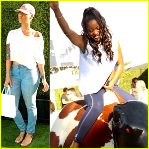 Keke Palmer Masters the Mechanical Bull at Just Jared's Summer Fiesta!