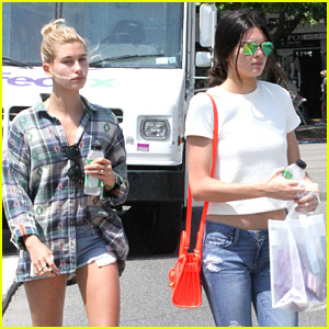 Kendall Jenner & Hailey Baldwin Juice Up After Amusement Park Fun in the Hamptons