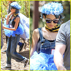 Nicole Richie Shows Unique Style By Wearing Blue Tutu & Overalls During Hike
