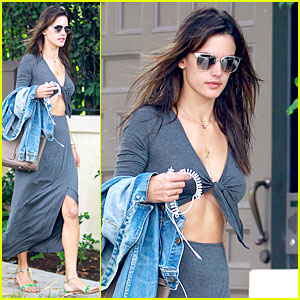 Alessandra Ambrosio Flaunts Toned Tummy In Maxi Dress