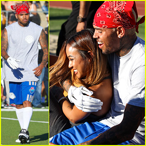 Chris Brown Cozies Up to On-Again Girlfriend Karrueche Tran at Charity Flag Football Game