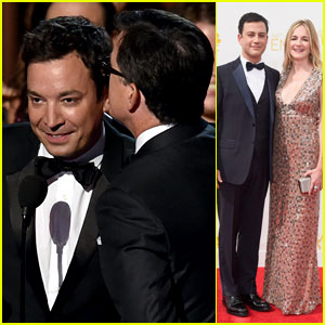 Jimmy Fallon Storms the Stage to Accept Stephen Colbert's Win at Emmys 2014!