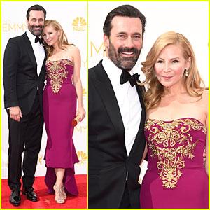 Jon Hamm & Jennifer Westfeldt Are Such a Loving Pair at Emmys 2014