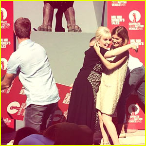 Kate Mara & Lena Dunham Almost Get Crushed by a Big Poster!