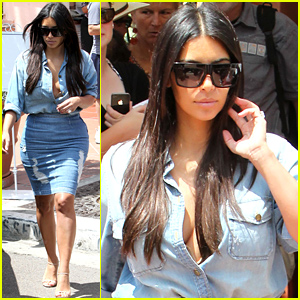 Kim Kardashian Does Double Denim with Lots of Cleavage For Family Trip!