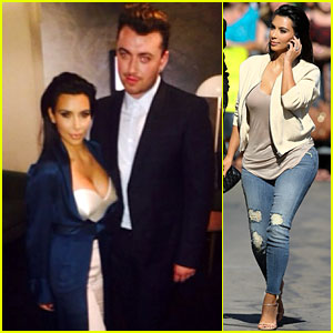 Kim Kardashian Meets Sam Smith Backstage at 'Kimmel'