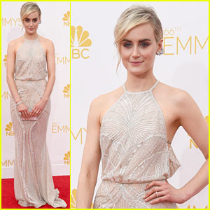 Taylor Schilling Goes for 'Non-Color' Dress at Emmys 2014