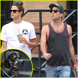 Zachary Quinto & Boyfriend Miles McMillan Take Their Pups for a Stroll in Tribeca