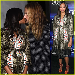 Zoe Saldana Kisses Hubby Marco Perego at Audi Emmys Party!