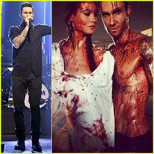 Shirtless Adam Levine & Wife Behati Prinsloo Are Bloody Animals!