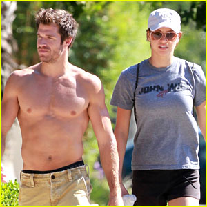 Adrianne Palicki & Shirtless Fiance Jackson Spidell Go Hiking!