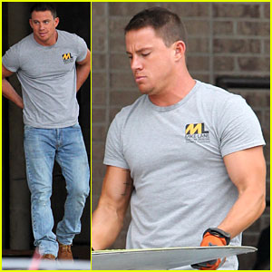 Channing Tatum Flaunts Buff Muscles on 'Magic Mike XXL' Set
