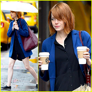 Emma Stone Braves the Rain to Grab Her Morning Coffee