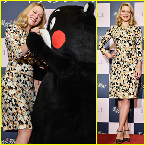 Lea Seydoux Snuggles Mascot Kumamon at 'Beauty and The Beast' Japan Premiere!