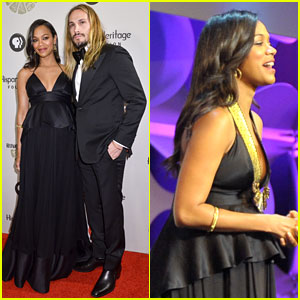 Pregnant Zoe Saldana Receives Vision Award with Husband Marco Perego By Her Side!