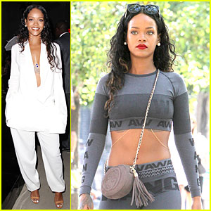 Rihanna Rocks Plunging White Suit at Edun Fashion Show