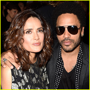 Salma Hayek & Lenny Kravitz Buddy Up at the Saint Laurent Show