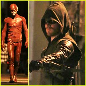 Stephen Amell & Grant Gustin Superhero Suit Up for 'Flash/Arrow' Crossover Filming