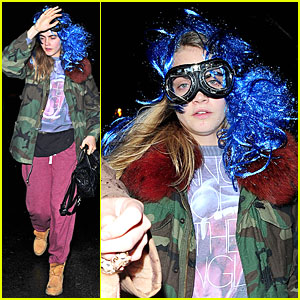 Cara Delevingne Wears Blue Wig For Thorpe Park Fright Night Launch