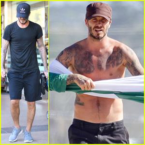 David Beckham Boasts Shirtless Tattooed Body on the Beach!