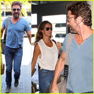 Gerard Butler & His Mystery Brunette Girlfriend Take a Flight Together