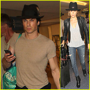 Ian Somerhalder & Nikki Reed Wear Matching Hats For LAX Arrival