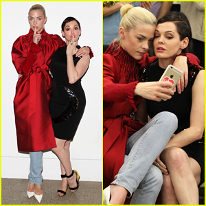 Jaime King & Rose McGowan Sit Front Row & Take Selfies at Ruffian Fashion Show!