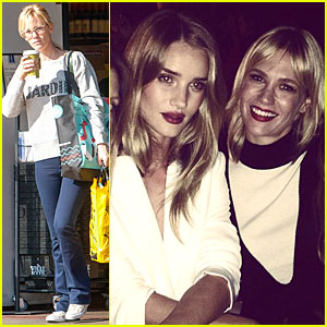 January Jones Looks Happy To Have a Girls' Night With Rosie Huntington-Whiteley