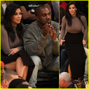 Kim Kardashian & Kanye West Hit Staples Center For Lakers First Season Game!