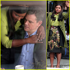 Matt Damon & Mindy Kaling Keep Close While Filming Funny Super Bowl Commercial