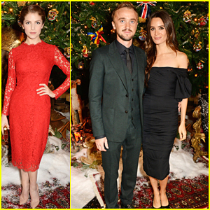 Anna Kendrick & Tom Felton Light Up for Christmas at Dolce and Gabbana Christmas Tree Party