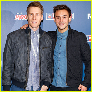 Tom Daley & Dustin Lance Black Pose for Cute Pictures at an NFL Game in London!