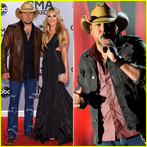 Jason Aldean Brings Fiancee Brittany Kerr to CMA Awards 2014, Performs 'Burnin' It Down' - Watch Now!