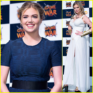 Kate Upton Looks Like a Grecian Goddess at Game Of War: Fire Age Promotional Tour