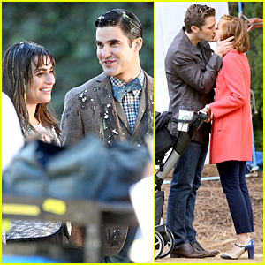 Lea Michele & Darren Criss Get Egged On Fun 'Glee' Set