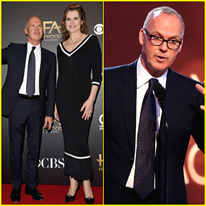 Michael Keaton Receives HFA Career Achievement Award from Geena Davis!
