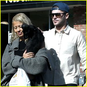 Zac Efron & Girlfriend Sami Miro Take Their Dog to the Pet Store