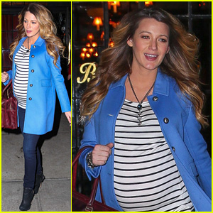 Blake Lively Dresses Up Her Baby Bump in Chic Stripes