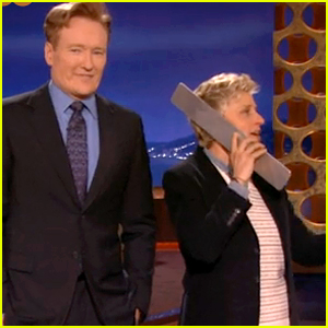 Ellen DeGeneres Surprises 'Conan' Crowd During '12 Days of Giveaways' Parody (Video)